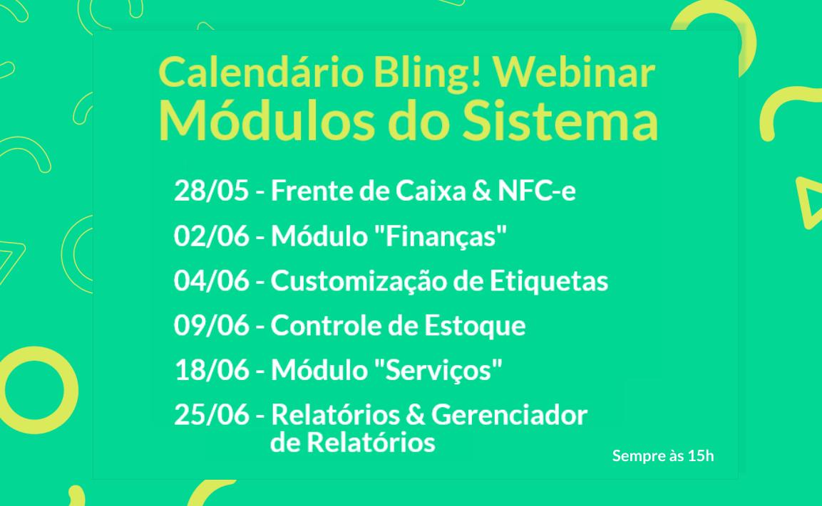 Agenda de webinars: módulos e processos da sua empresa